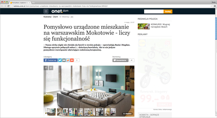 Pomysłowo urządzone mieszkanie na warszawskim Mokotowie, Onet Dom-0